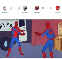 Liverpool & Arsenal fans be like..: 0-0  0- 0  Liverpool  West Brom  West Ham  Arsenal Liverpool & Arsenal fans be like..