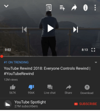 trending: 0:02  8:13 Lj  #1 ON TRENDING  YouTube Rewind 2018: Everyone Controls Rewind |  #YouTubeRewind  12M views  567K  956K  Live chat  Share  Download  YouTube Spotlight  27M subscriberss  SUBSCRIBE