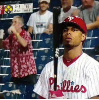Mlb, Philadelphia Phillies, and Game: 0-1 16  2OUT BOT 7 This fan knows the only way to sit through a Phillies game! 😂😂🍺🍺