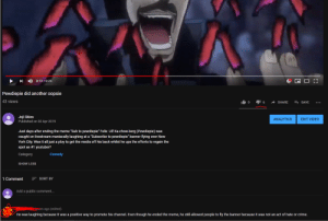 """Bad, Crime, and Meme: 0:12/  :24  Pewdiepie did another oopsie  43 views  Joji Skies  Published on 30 Apr 2019  ANALYTICS  EDIT VIDEO  Just days after ending the meme """"Sub to pewdiepie"""" Felix Ulf Ka-chow-berg (Pewdiepie) was  caught on livestream maniacally laughing at a """"Subscribe to pewdiepie"""" banner flying over New  York City. Was it all just a ploy to get the media off his back whilst he ups the efforts to regain the  spot as #1 youtuber?  Comedy  Category  SHOW LESS  1 CommentSORT BY  Add a public comment..  s ago (edited)  He was laughing because it was a positive way to promote his channel. Even though he ended the meme, he still allowed people to fly the banner because it was not an act of hate or crime. Pretending to be the media and taking a clip of pewdiepie out of context mixed with some Kars to make him look bad backfired..."""