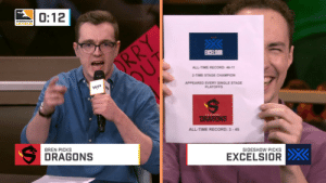 shockrascal: tag yourself i'm bren: 0:12  DVERWATCH  LEAGUE  ALL-TIME RECORD: 11  2-TIME STAGE CHAMPION  APPEARED EVERY SINGLE STAGE  WP W  ALL-TIME RECORD: 3-45  BREN PICKS  SIDESHOW PICKS  DRAGONS  EXCELSIOR shockrascal: tag yourself i'm bren