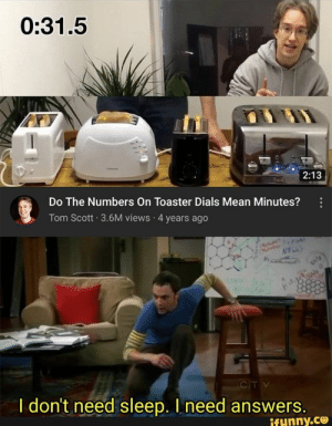 : 0:31.5  2:13  Do The Numbers On Toaster Dials Mean Minutes?  Tom Scott 3.6M views 4 years ago  CITV  I don't need sleep. I need answers.  ifynny.ce