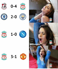 Memes, Liverpool F.C., and 🤖: 0-4  LIVERPOOL  OOTBALL  CHES  HELSE  ) 2-0  CITY  BALL  1-0  LIVERPOOL  fTrollFootball  3-1  LIVERPOOL  OOTBALL Liverpool fans in the last 8 days https://t.co/pG2GO1hALJ