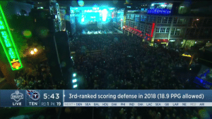 150,000 people down Broadway. Incredible! 😱  📺: NFLN/ESPN/ABC #NFLDraft https://t.co/43HxNI9dg7: 0  5:43 3rd-ranked scoring defense in 2018 (18.9 PPG allowed)  DRAFT  LIVE TEN RD1 PK19  NEXT DEN SEA BAL HOU OAK PHI IND OAK LAC SEA GB LAR NE RD2 AR 150,000 people down Broadway. Incredible! 😱  📺: NFLN/ESPN/ABC #NFLDraft https://t.co/43HxNI9dg7
