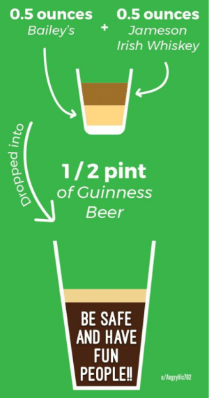 Beer, Irish, and Reddit: 0.5 ounces 0.5 ounces  Bailey's+Jameson  Irish Whiskey  1/2 pint  of Guinness  Beer  BE SAFE  AND HAVE  FUN  PEOPLE!!u/hagwial  u/AngryVic702 HaPPy SaiNt P DaY! 🍀