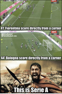 Espn, Memes, and 🤖: 0:52  VIVO  41 Fiorentina score directly froma corner  orereSpor  o per le  ESPn  TrollFootball  TheTrollFootball Instoa  VIVO  44' Bologna score directly froma corner  This is Serie A Madness in Serie A https://t.co/NlmWMT3Y8j