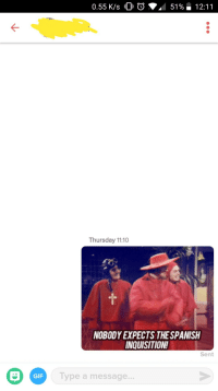 Gif, Her, and Bio: 0.55 K/s 0  51 %. 12:11  Thursday 11:10  NOBODY EXPECTS THESPANISH  INQUISITION!  Sent  GIF  Type a message... Her bio said surprise me