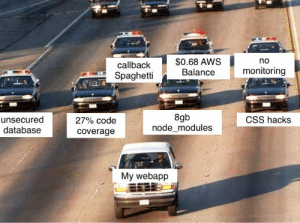 All of my webapps: $0.68 AWS  Balance  no  callback  monitoring  Spaghetti  8gb  node_modules  unsecured  database  CSS hacks  27% code  coverage  My webapp All of my webapps