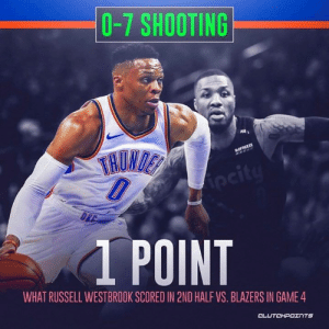 The Thunder won't win with Russell Westbrook shooting this way. — @thundernationcp @raptorsnationcp: 0-7 SHOOTING  1 POINT  WHAT RUSSELL WESTBROOK SCORED IN 2ND HALF VS. BLAZERS IN GAME 4  CLUTCHPOェ TS The Thunder won't win with Russell Westbrook shooting this way. — @thundernationcp @raptorsnationcp