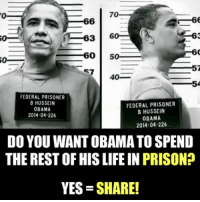 Life, Obama, and Prison: 0  70  6  3 60  60 50  40_  FEDERAL PRISONER  B HUSSEIN  OBAMA  2014-04-226  FEDERAL PRISONER  B HUSSEIN  OBAMA  2014 04-226  DO YOU WANT OBAMA TO SPEND  THE REST OF HIS LIFE IN PRISON?  YES SHARE! Subscribe to The Political Insider: https://thepoliticalinsider.com/subscribe/
