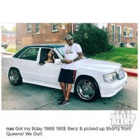 80s, Baller Alert, and Cute: 0  BALLER  ALERT  nas Got my Bday 1988 190E Benz & picked up Shorty from  Queens! We Out! If your mom has an old picture of her in this car with a fly dude, and she has on some big door knocker earrings ....she was dating a hustler in the 80s... nas and nickiminaj YA'LL CUTE (swipe)