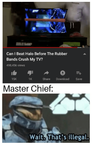 Crush, Halo, and Intensifies: 0  Can I Beat Halo Before The Rubber  Bands Crush My TV?  498,456 views  1K  Share Download Save  15K  Master Chief:  Wait. That's illegal. *Halo Theme intensifies*