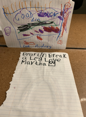Love, Memes, and Best: 0  Love Audre  Dear Lin BreaK  a LeS Love  Mavtha The best part: I had Harry Hadden-Patton's dressing room on the day of the Camelot concert, and his kids left me these notes 😫 https://t.co/JKPmc1evQS