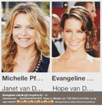 Evangeline Lilly welcomed her new on screen Mom.  (Nerds Love Art): 0  Michelle Pf... Evangeline  ...  Janet van D...  Hope van D...  Evangeline Lilly@EvangelineLilly 4h  Ummmmmm AAAAAAHHHHHH!!! News is officially out: THE #MichellePfeiffer is my  new mom!!!! fen ft ft. Evangeline Lilly welcomed her new on screen Mom.  (Nerds Love Art)