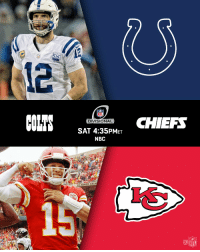 The @Colts. The @chiefs. Next Saturday.  Bring. It. On. 📺: #INDvsKC. Saturday 1/12. 4:35pm ET on NBC. https://t.co/6Nkf8b3nGz: 0  NFL  DIVISIONAL  SAT 4:35PMET  NBC  CHIEF  28 ABNER HAYN  15  NFL The @Colts. The @chiefs. Next Saturday.  Bring. It. On. 📺: #INDvsKC. Saturday 1/12. 4:35pm ET on NBC. https://t.co/6Nkf8b3nGz