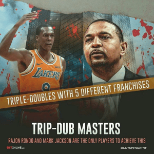 Los Angeles Lakers, Rajon Rondo, and Bulls: 0  uis  TRIPLE-DOUBLES WITH 5 DIFFERENT FRANCHISES  TRIP-DUB MASTERS  RAJON RONDO AND MARK JACKSON ARE THE ONLY PLAYERS TO ACHIEVE THIS  BETONLINE.AG Congrats to Rajon Rondo, who notched a triple-double with Celtics, Kings, Pelicans, Bulls and Lakers 👏 — @la_lakeshow @betonline_ag