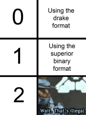 Drake, Format, and Binary: 0  Using the  drake  format  Using the  superio  binary  format  2  Wait, That's illegal Even betterer