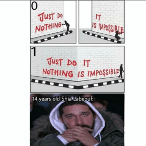 JUST DO IT. by PatrioticDuck MORE MEMES: 0  UST  NoTHiNG  IT  S IMPOSSI  TuST DO IT  NoTHING IS IMPOSSIBLR  ears old Shia Labeouf: JUST DO IT. by PatrioticDuck MORE MEMES