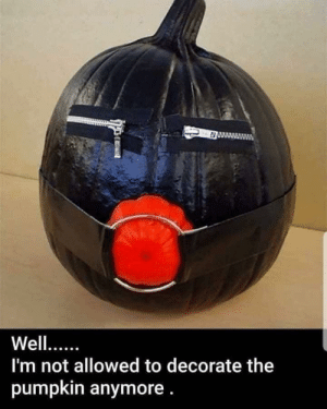 Funny, Pumpkin, and Via: 0  Well...  I'm not allowed to decorate the  pumpkin anymore. I was told I needed to try to make it lifelike via /r/funny https://ift.tt/2zopnTV