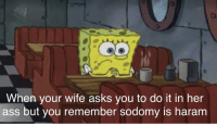 Ass, Wife, and Dank Memes: 0  When your wife asks you to do it in her  ass but you remember sodomy is haram