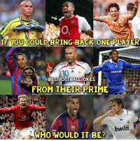 Who Would You Bring Back? 🤔👇: 0  YOU COULD BRING-BACK ONEF  IF  LAYER  10  SAMSUNE  OBESTFOOTBALLJOKES  FROM THEIR PRIME  vodafo  ecom  bwin  WHO WOULD IT BE? Who Would You Bring Back? 🤔👇