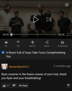 Thank You Ryan: 00:28  00:00  125  5k  Add To  Share  Download  A Room Full of Guys Take Turns Complimenting  You  3 months ago  Remember9412  Ryan creamer is the Keanu reaves of porn hub, thank  you Ryan and your breathtaking!  181  Reply Thank You Ryan
