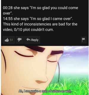 "Plot is important: 00:28 she says TmSO glad you could come  over  14:55 she says ""T'm so glad I came over"".  This kind of inconsistencies are bad for the  video, 0/10 plot couldn't cum.  Reply  Ah, lsee youre a man of culture as well Plot is important"