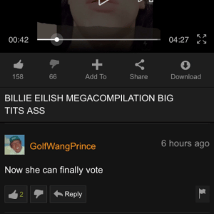 Billie eilish tits and ass 0042 0427 66 Share 158 Add To Download Billie Eilish Megacompilation Big Tits Ass 6 Hours Ago Golfwangprince Now She Can Finally Vote Reply That Is Factual Add Meme On Me Me