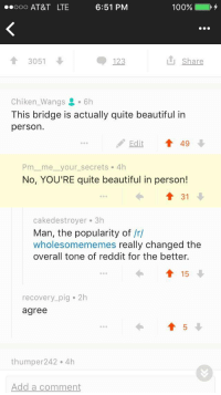 """Anaconda, Beautiful, and Reddit: 00 AT&T LTE  6:51 PM  100%)  3051  123  LShare  Chiken_Wangs 6h  This bridge is actually quite beautiful in  person.  Edit  49  Pm_me_your_secrets 4h  No, YOU'RE quite beautiful in person!  T 31  cakedestroyer 3h  Man, the popularity of /r/  wholesomememes really changed the  overall tone of reddit for the better.  ↑15  recovery pig 2h  agree  thumper242 4h  Add a comment <p>r/wholesomememes taking its toll in r/evilbuildings via /r/wholesomememes <a href=""""http://ift.tt/2nDqGar"""">http://ift.tt/2nDqGar</a></p>"""