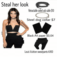 Dogs, Memes, and Louis Vuitton: 00  Retractable coiled usb cable $10  Steel dog collar $7  Black A4 paper $0,04  Louis Vuitton sweatpants €450 She still cute though lol