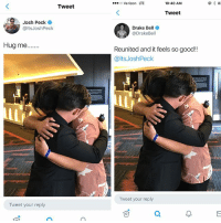 They made up 😂😂😂😩 follow @genuine.gerald (swipe if you don't get it - the second slide happened a couple months ago, first slide is from yesterday): 00 Verizon LTE  10:40 AM  83  Tweet  Tweet  Josh Peck  @ltsJoshPeck  Drake Bell  @DrakeBell  Reunited and it feels so good!!  @ltsJoshPeck  Tweet your reply  Tweet your reply They made up 😂😂😂😩 follow @genuine.gerald (swipe if you don't get it - the second slide happened a couple months ago, first slide is from yesterday)
