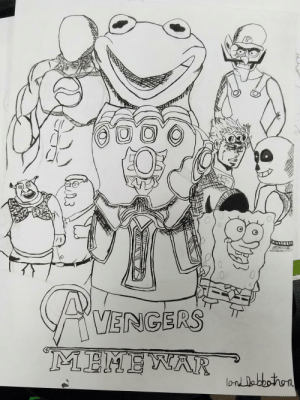 Idk why,but I spent several days drawing,and inking this. Is it bold and brash,or does it belong in the trash?: 000  CA VENGERS  MEMEWAR  lond Dabbothon Idk why,but I spent several days drawing,and inking this. Is it bold and brash,or does it belong in the trash?