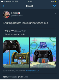 <p>Don&rsquo;t forget about the exclusives (via /r/BlackPeopleTwitter)</p>: ..000 Koodo  MEN!  15:26  Tweet  @mrfields58  Shut up before l take ur batteries out  WXLFY @Kxng_Wxlf  We all know the truth  0 o  2018-03-24, 20:38 from Hammond, LA  150K Retweets 342K Likes <p>Don&rsquo;t forget about the exclusives (via /r/BlackPeopleTwitter)</p>