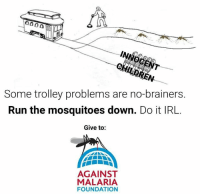 Today (April 25th) is World Malaria Day. Malaria affects over 200 million people and kills over 400,000 people a year.   We at Trolley Problem Memes love making jokes about complex, abstruse, and absurdly funny ethical dilemmas. But some problems are more straightforward than others, and we think joining the fight in defeating malaria is one of them.   https://www.AgainstMalaria.com/TrolleyProblemMemes  We have also been particularly impressed with the work of The Against Malaria Foundation. AMF distributes long-lasting insecticidal bednets that covers two people--a mother and her child and lasts for a period of 2-4 years, drastically decreasing incidences of mosquito bites and malaria. We believe the organization's work is cost-effective and exceptionally well-researched, and the NGO itself is very transparent and has high organizational efficiency. See here for an in-depth analysis:  http://www.givewell.org/charities/against-malaria-foundation  Obviously not everybody is in a position to donate, and we have zero interest in guilting people to do so. But if 1% of our 198,000 followers will donate $10 each, this will be enough for the Against Malaria Foundation to distribute over 3,000 bednets, protecting entire villages against the scourge of malaria.   https://www.AgainstMalaria.com/TrolleyProblemMemes: 0000  Some trolley problems are no-brainers.  Run the mosquitoes down. Do it IRL.  Give to:  AGAINST  MALARIA  FOUNDATION Today (April 25th) is World Malaria Day. Malaria affects over 200 million people and kills over 400,000 people a year.   We at Trolley Problem Memes love making jokes about complex, abstruse, and absurdly funny ethical dilemmas. But some problems are more straightforward than others, and we think joining the fight in defeating malaria is one of them.   https://www.AgainstMalaria.com/TrolleyProblemMemes  We have also been particularly impressed with the work of The Against Malaria Foundation. AMF distributes long-lasting insecticidal bednets that covers two people--a mother and her child and lasts for a period of 2-4 years, drastically decreasing incidences of mosquito bites and malaria. We believe the organization's work is cost-effective and exceptionally well-researched, and the NGO itself is very transparent and has high organizational efficiency. See here for an in-depth analysis:  http://www.givewell.org/charities/against-malaria-foundation  Obviously not everybody is in a position to donate, and we have zero interest in guilting people to do so. But if 1% of our 198,000 followers will donate $10 each, this will be enough for the Against Malaria Foundation to distribute over 3,000 bednets, protecting entire villages against the scourge of malaria.   https://www.AgainstMalaria.com/TrolleyProblemMemes