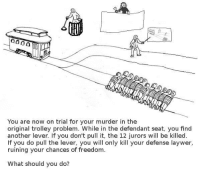 @John Paul Davies‎: 0000  You are now on trial for your murder in the  original trolley problem. While in the defendant seat, you find  another lever. If you don't pull it, the 12 jurors will be killed  f you do pull the lever, you will only kill your defense laywer,  ruining your chances of freedom  What should you do? @John Paul Davies‎
