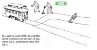 Trolley, Will Do, and  Andr: 0000  You will be paid $500 to pull the  lever and kill one person. If you  don't do it, somebody else will  do it. @André Kugland