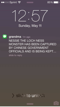 Grandma, Loch Ness Monster, and Monster: 00000 Sprint  8590  12:57  Sunday, May 11  O grandma 1m ago  NESSIE THE LOCH NESS  MONSTER HAS BEEN CAPTURED  BY CHINESE GOVERNMENT  OFFICIALS AND IS BEING KEPT  slide to reply  slids  to unlo  ok