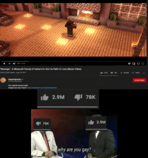 """The memes are dead, but the song is still a classic.: 001/424  """"Revenge"""" - A Minecraft Parody of Usher's DJ Got Us Fallin' In Love (Music Video)  21 8,012,839 views- Aug 19, 2011  SHARE  SAVE  2.9M  78K  CaptainSparklez  10.7M subecrbers  SUnsCRIDE  The original song is back  Creeper aw man merch: hittp:represent.com/captainsparklez  2.9M  78K  2.9M  78K  why are you gay? The memes are dead, but the song is still a classic."""