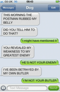 Text, Been, and Dog: 02-UK 3G  08:43  Messages  Dog  Edit  THIS MORNING THE  POSTMAN RUBBED MY  BELLY  DID YOU TELL HIM TO  DO THAT?  I might have mentioned it  YOU REVEALED MY  WEAKNESS TO MY  GREATEST ENEMY  HE'S NOT YOUR ENEMY  I'VE BEEN BETRAYED BY  MY OWN BUTLER  I'M NOT YOUR BUTLER  O (Text Message  Send