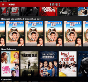 tastefullyoffensive:  Well played, Netflix. (image via marthafarcuss): . 02-UK  NETFLIX  KIDS  TDAWN  Because you watched Groundhog Day  OG GROUNDHOG GROUNDHOG GROUNDHOG GROUNDHOG GRO  DAY  DAY  DAY  DAY  New Releases  how.i  met your  mother  WÄLKING DEAD  DRINKING  BUDDIES  BLACK  GIRL  MOST  LIKELY  aMC  Comedies tastefullyoffensive:  Well played, Netflix. (image via marthafarcuss)