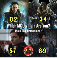 Memes, Vulture, and 🤖: 0234  3-4  Which MCUVillain Are You?  (Your Like Determines lt)  5-1  8-9  RTAIN Loki, Vulture, Zemo, Killmonger. Comment below who you get and tag a friend! MarvelousJokes
