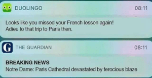 Blaze: 08:11  DUOLINGO  Looks like you missed your French lesson again!  Adieu to that trip to Paris then  G THE GUARDIAN  08:11  BREAKING NEWS  Notre Dame: Paris Cathedral devastated by ferocious blaze