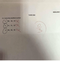 student of the year: 09/01/2019  CLASS TEST  VI) Circle the smallest number  1. 39, 42, 67  2. 17, 71, 15  3. 96, 60, 86