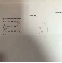 Memes, Best, and Test: 09/01/2019  CLASS TEST  VI) Circle the smallest number  1. 39, 42, 67  2. )17, 71, 15  3. 96, 60, 86 You are technically correct, the best kind of correct.