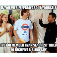Ryan Seacrest: IFYOU EVER FEEL BAD ABOUT YOURSELF  MIND THE  38136  JUST  REMEMBER RYAN SEACREST TRIED  TO HIGHFIVEABLINDGUY