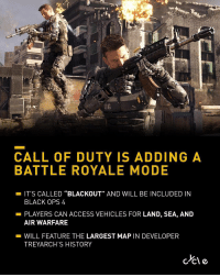 "Call Of Duty will be adding a 'Battle Royale' mode called 'Blackout' in the upcoming game 'Black Ops 4'! 🎮🔥💯 Via: @Bycycle https://t.co/4hQhf9ux4B: 0B  CALL OF DUTY IS ADDING A  BATTLE ROYALE MODE  -IT'S CALLED ""BLACKOUT"" AND WILL BE INCLUDED IN  BLACK OPS 4  PLAYERS CAN ACCESS VEHICLES FOR LAND, SEA, AND  AIR WARFARE  -WILL FEATURE THE LARGEST MAP IN DEVELOPER  TREYARCH'S HISTORY Call Of Duty will be adding a 'Battle Royale' mode called 'Blackout' in the upcoming game 'Black Ops 4'! 🎮🔥💯 Via: @Bycycle https://t.co/4hQhf9ux4B"