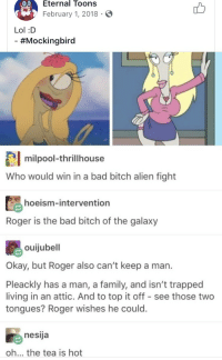 Sometimes you people disgust me: 0Eternal Toons  February 1, 2018 S  Lol :D  #Mockingbird  milpool-thrillhouse  Who would win in a bad bitch alien fight  hoeism-intervention  Roger is the bad bitch of the galaxy  ouijubell  Okay, but Roger also can't keep a man.  Pleackly has a man, a family, and isn't trapped  living in an attic. And to top it off - see those two  tongues? Roger wishes he could.  nesija  oh... the tea is hot Sometimes you people disgust me