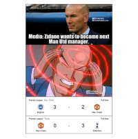 inst: 0O TrollFootball  TheTrollFootball Insta  Media: Zidane wants to become next  Man Uti manage.  0O TrollFootball  TheTroliFootball Inst  Premier League Sun, 19/08  Full-time  3  2  Brighton  Man United  Premier League Today  Full-time  0  3  Man United  Tottenham