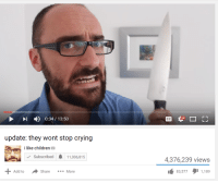 Children, Crying, and Add: 1 ) 0:34 / 13:50  update: they wont stop crying  i like children  Subscribed11,006,815  4,376,239 views  Share More  83,5771,189  Add to <p>saucey</p>