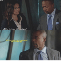 — [1x01] Harrison knows what's up scandal scandalabc quinnperkins harrisonwright: 1.01  Is Olivia  is she one of the good guys  No. She's not one of the good guys.  She's the best guy. — [1x01] Harrison knows what's up scandal scandalabc quinnperkins harrisonwright